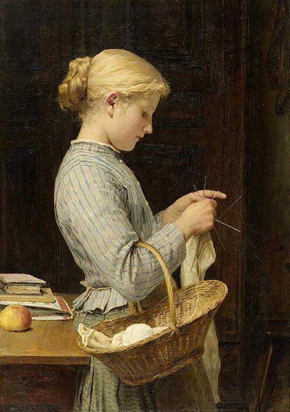 Albrecht Samuel Anker (1831 –1910), Girl knitting (1888)