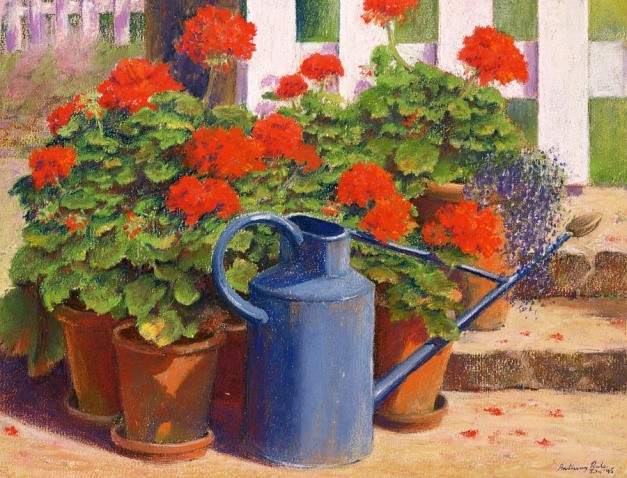 Anthony Rule (b. 1950) The blue watering can
