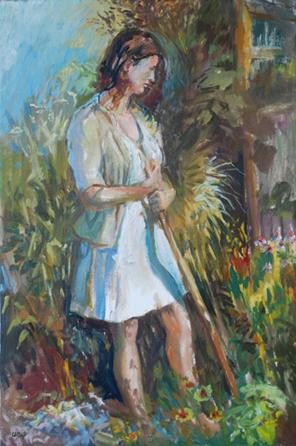 Daryl Urig (b.1952) Tending the garden (1980)