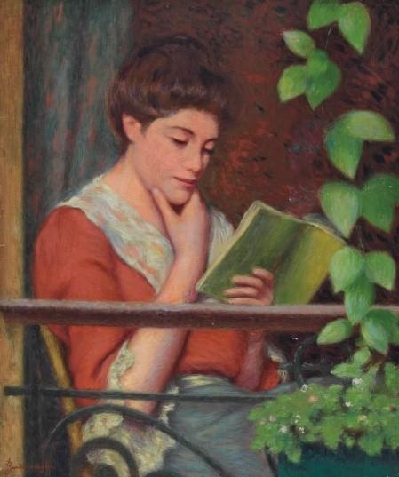 Federico Zandomeneghi (1841-1917) Italian Reading al fresco