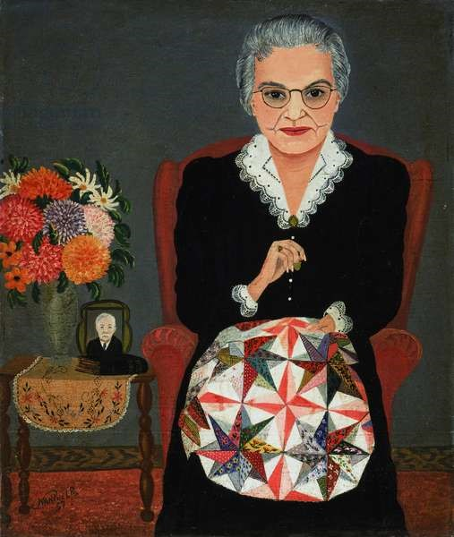 Nan Phelps (1904-90) Artist's mother making a quilt (1957)