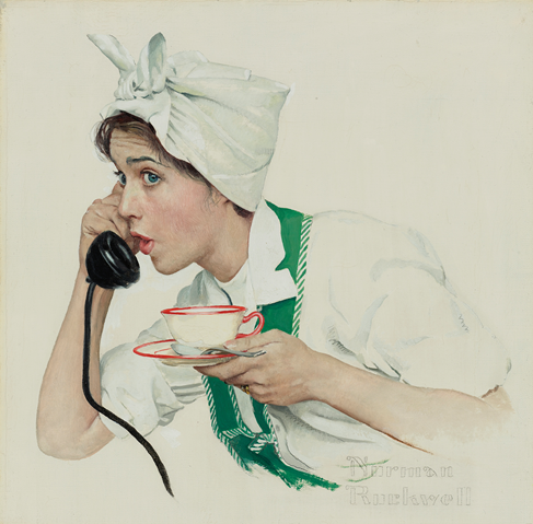 Norman Rockwell (1894-1978) House wife on the phone (1958)