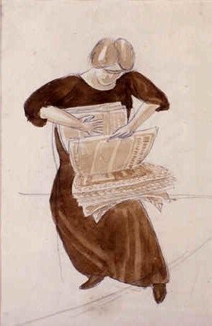 Stanley Spencer (1891-1959) Hilda sorting newspapers (1929)